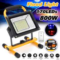 800W 170 LED Rechargeable Floodlight Waterproof Spot Work Camping Outdoor Handheld Work Lights Power By 18650 Portable Lantern