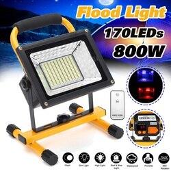 800 W 170 LED akumulator reflektor wodoodporna miejscu praca Camping odkryty Handheld światła robocze zasilanie przez 18650 przenośna latarnia w Reflektory od Lampy i oświetlenie na