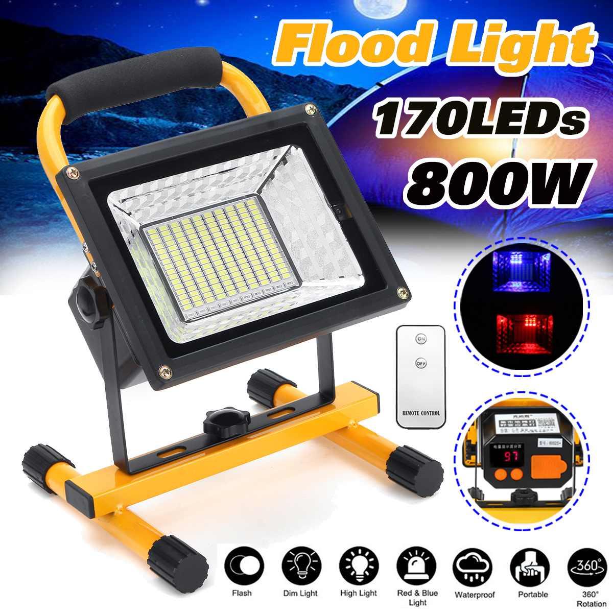 Işıklar ve Aydınlatma'ten Işıldaklar'de 800 W 170 LED Şarjlı Projektör Su Geçirmez Spot Çalışma Kamp Açık El Çalışma Lambaları Güç 18650 Taşınabilir Fener title=