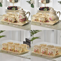New Arrived Exquisite Ivory Porcelain 4 Cups Pot Tray Tea Set For Gift