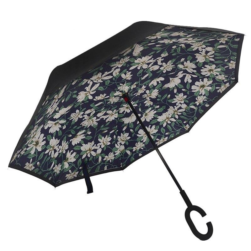 Ceiourich Double Layer Inverted Umbrellas Reverse Windproof UV Protection Big Straight Umbrella for Car Rainny Umbrella-001