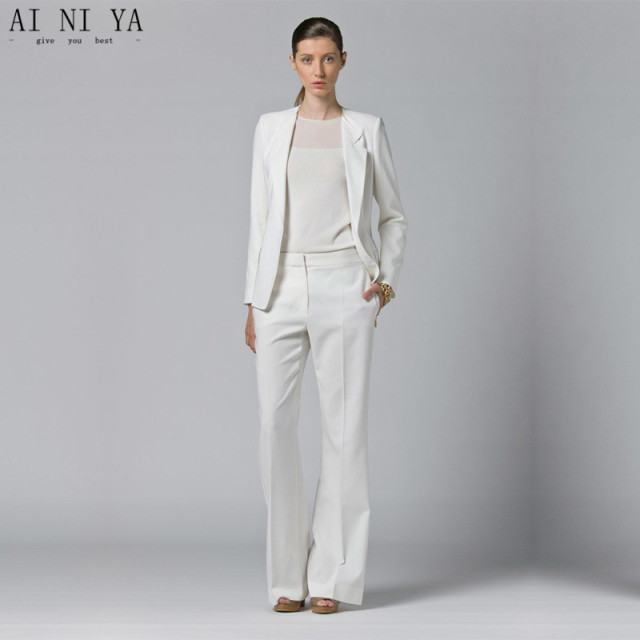 White Womens Business Suits 2 Piece Sets Blazer Office Uniform