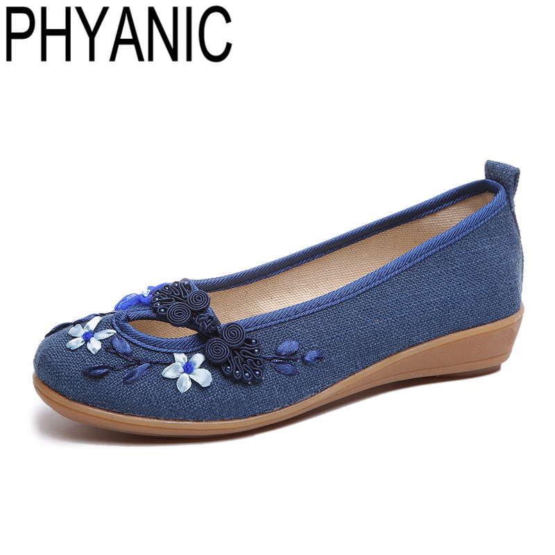 PHYANIC Embroidery Flowers Women Casual Shoes 2018 Slip-on Ballet Flats Shoes Spring Summer Basic Loafers Flat With Shoes Woman cresfimix women cute spring summer slip on flat shoes with pearl female casual street flats lady fashion pointed toe shoes