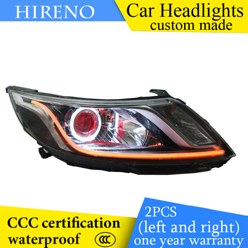 Hireno custom Modified Headlamp for KIA K2 RIO 2012-14 Headlight Assembly Car styling Angel Lens Beam HID Xenon 2 pcs headlight for kia k2 rio 2015 including angel eye demon eye drl turn light projector lens hid high low beam assembly