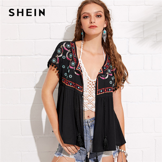 dfd84a8f60 SHEIN Black Vacation Boho Bohemian Beach Geometric Print Short Sleeve  Embroidery Fringe Knot Kimono Summer Women Blouse Top