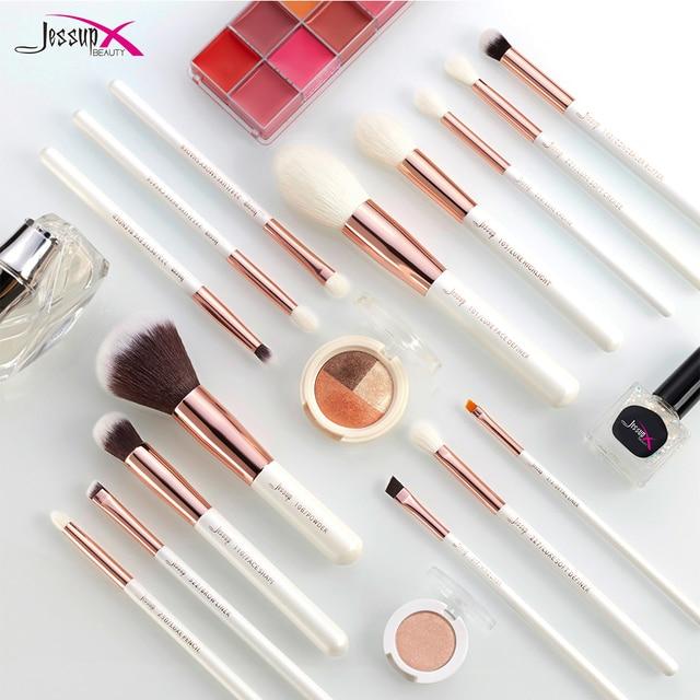 Jessup brushes Pearl White/Rose Gold Makeup brushes set Professional Beauty Make up brush Natural hair Foundation Powder Blushes 4