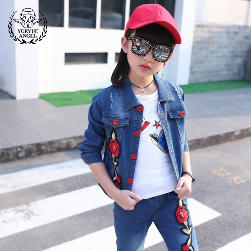 2018 New Spring Korean Style Denim Single Breasted Long Sleeve Floral Jackets+Flower Embroidery Hole Ripped Jeans 2Pcs Girl Sets europe style floral embroidery denim shorts women ripped shorts 2017 summer new boyfriend blue hole plus size woman short jeans