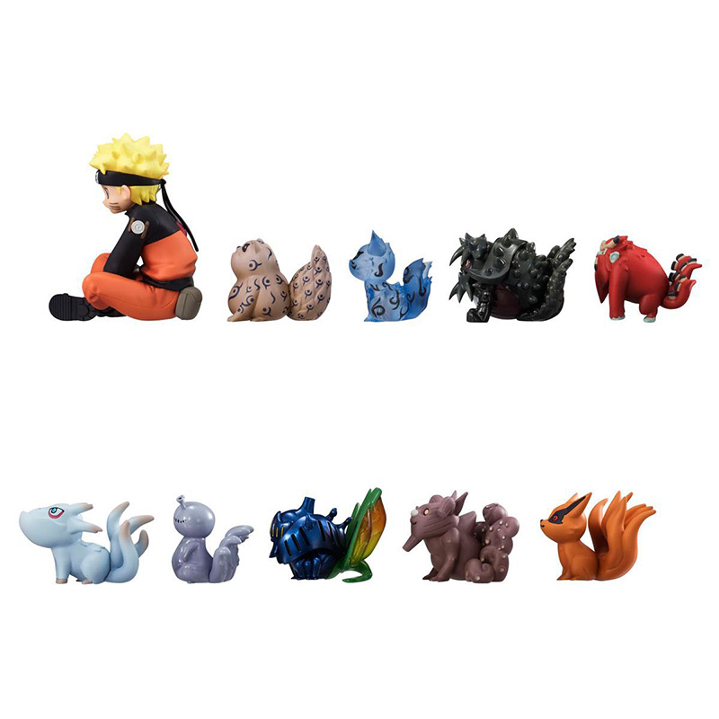 ZXZ 11pcs/set Naruto Figurine Uzumaki Naruto And Bijuu PVC Figure Collection Model Anime Action Figure Cartoon Toys anime naruto uzumaki naruto figure bond relation ver pvc action figure resin collection model toy doll gifts cosplay