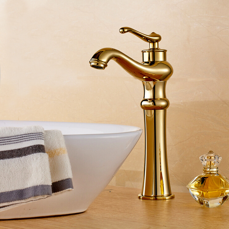 L16031 - Luxury Brass Material Polish and Gold Color Hot & Cold Water Lavatory FaucetL16031 - Luxury Brass Material Polish and Gold Color Hot & Cold Water Lavatory Faucet