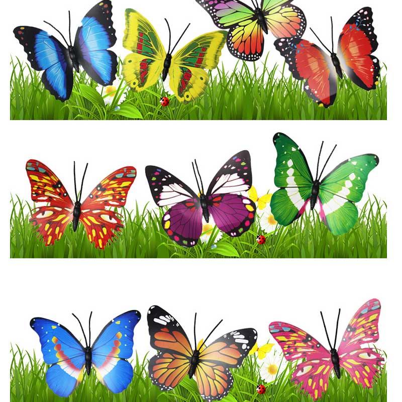 2 Шт. / 40 см Лот Искусственные Бабочки Садовые Украшения Моделирование Бабочка Колья Двор Завод