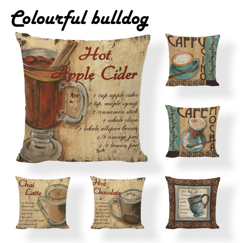 Decor Handmade Vintage Wooden Usa Cushion Cover Decorative Hot Chocolate Pillow Case 18inch