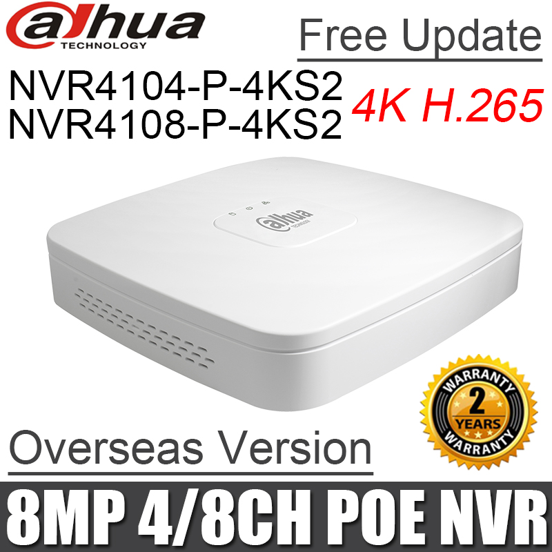 Dahua poe nvr NVR4104 P 4KS2 NVR4108 P 4KS2 4ch 8ch Smart 1U Mini NVR 1080P NVR with 4 POE Ports network video recorder-in Surveillance Video Recorder from Security & Protection    1