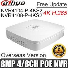 Dahua poe nvr NVR4104 P 4KS2 NVR4108 P 4KS2 4ch 8ch inteligente 1u mini nvr 1080 p nvr com 4 portas poe gravador de vídeo rede