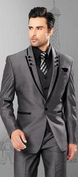 Men suits slim fit peak Lapel groom suit grey Wedding/business suits Men 2018 one button four piece Suit Jacket+Pants+Vest+Tie