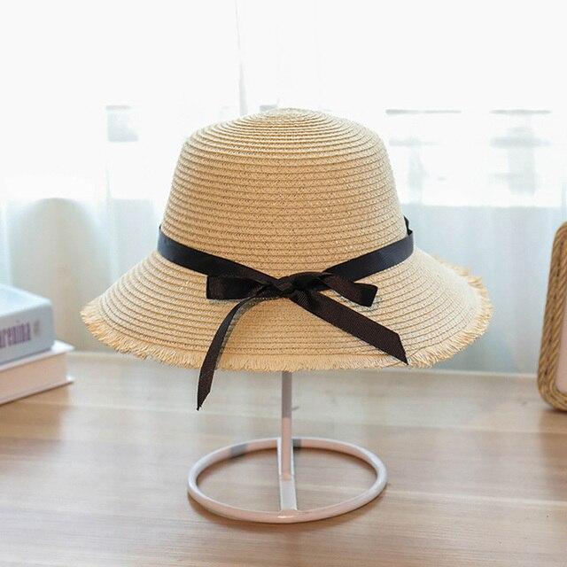 e01141782f732 2018 Women Summer Sun Hat With A Large Brim Ladies Raffia Straw Hat Fringe  Big Beach Hats For Holiday Sombrero