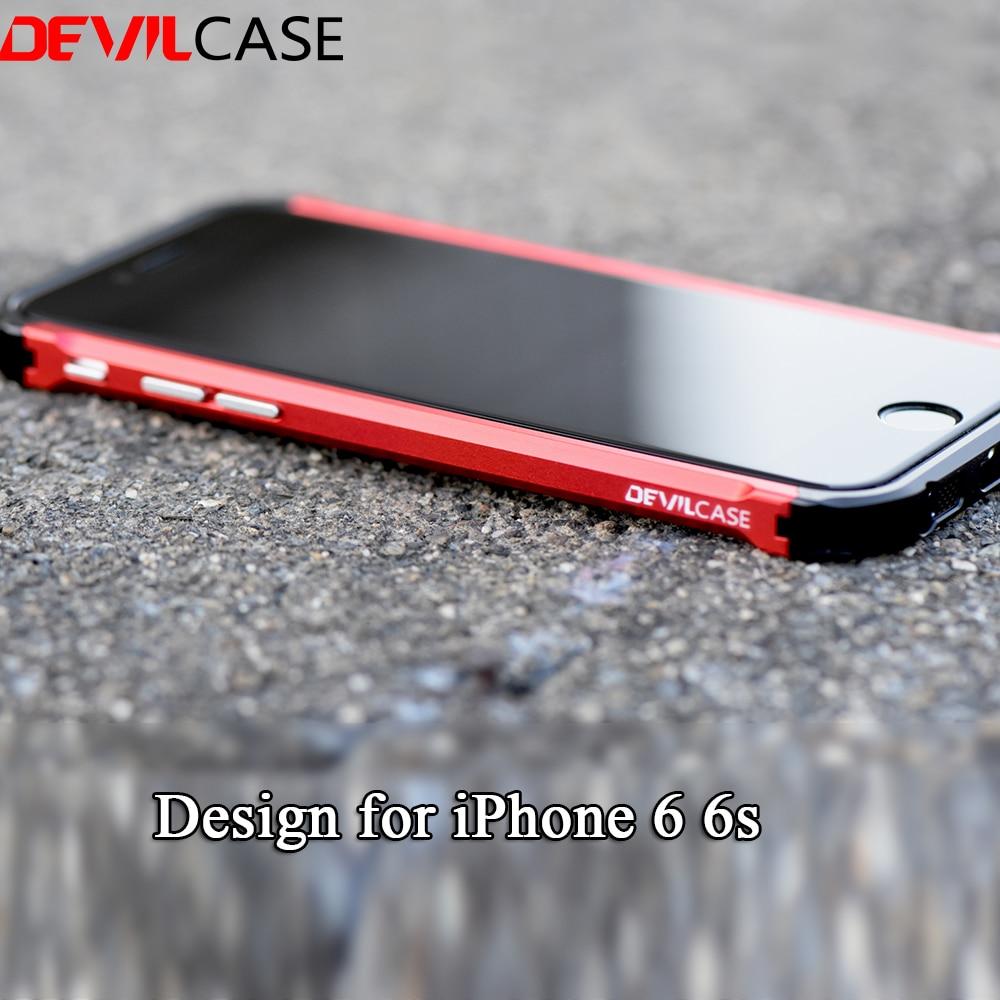Цена за Devilcase новый тип X для iPhone 6 6S Все Алюминий Гибридный Металлический бампер Мода розовое золото защитных чехлов ЧПУ вырез 6 6S