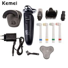 Kemei 220V 4 in 1 Waterproof Electric Shaver Washable Men Rechargeable Nose Trimmer Hair Clipper Shaving Beard Razor Cut Machine