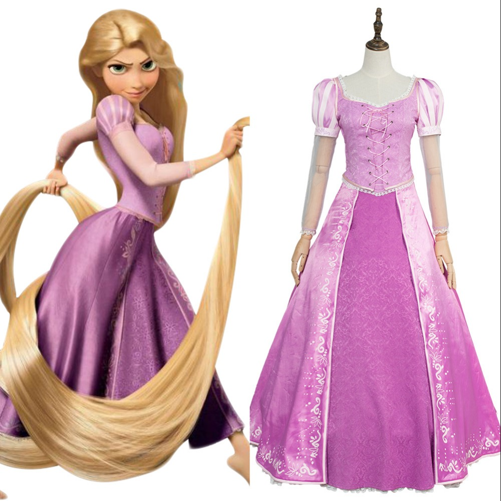 Movie Anime Tangled Princess Rapunzel Fancy Dress Gown Attire Vest Anime Cosplay Costume Halloween Carnival Cosplay Costume