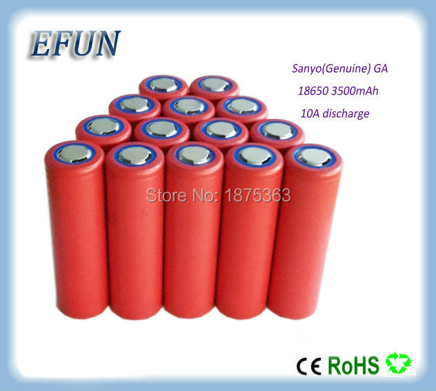 цены  Free shipping Brand new 50PCS/LOT  100% Genuine Sanyo 18650 3500mAh Li-ion Rechargeable Battery 3.6V NCR18650GA highest capacity