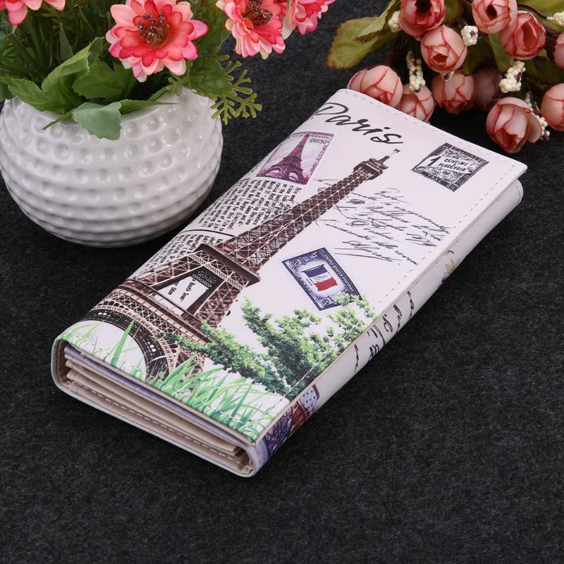 Paris Tower Pattern Lady Purses Women Wallets Cards ID Holder Handbags Coin Purse Long Clutch Moneybags Girls Wallet Bags Pocket