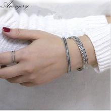 ANENJERY – Bracelets en argent Sterling 925 thaïlandais, manchette torsadée faite à la main, feuilles de plumes, S-B86