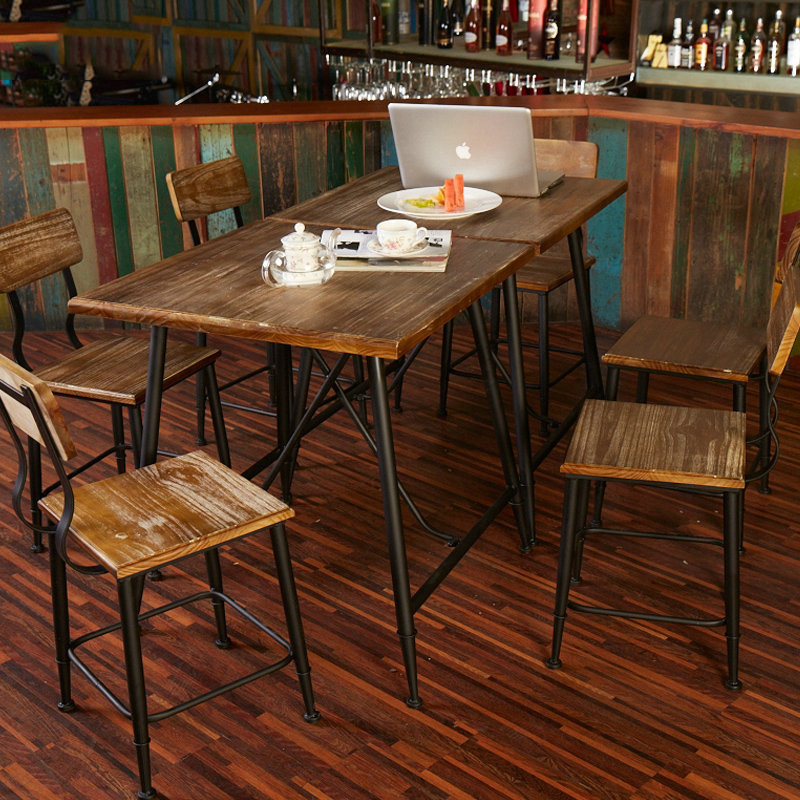 American Casual Home To Do The Old Wrought Iron Wood Furniture Simple Retro  Negotiate Cafe Tables And Chairs Combination Of Fast In Dining Chairs From  ...