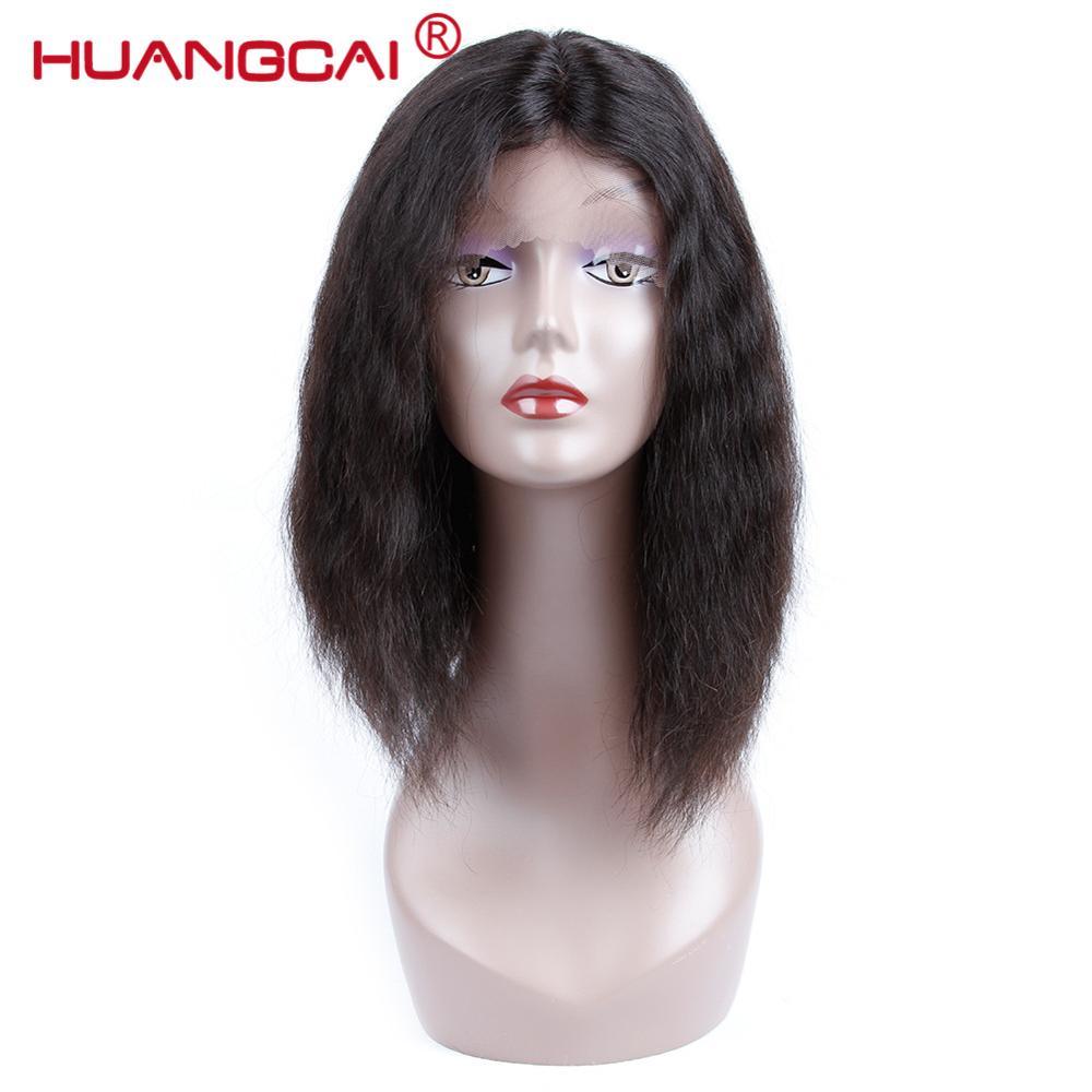 Huangcai Indian Kinky Prosto Krótki Bob Koronki Przodu Włosów Ludzkich Peruk Nie Remy Z Natural Black Darmowa Wysyłka Dla Kobiet