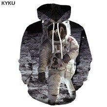 KYKU 3d Hoodies Astronaut Hoodie Men Galaxy Space Hooded Casual Metal Print Moon Printed Harajuku Hoody Anime