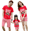 2017 New Matching Family Clothes Sets Catoon Car Printed Summer Short-sleeve T-shirt + Pants Matching Family Clothing Outfits
