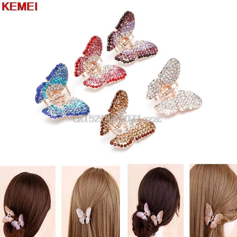 Fashion Women Girl Butterfly Claw Crystal Rhinestone Hair Clip Clamp Hairpin Jaw #H027#