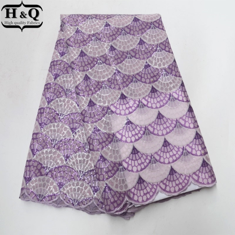 H Q violet arc shaped African organza lace fabric 2018 high quality lace organza lace fabric
