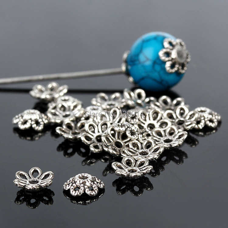 Hot 6mm Tone Silver Plated Filigree Flower Bead Caps Findings Jewelry A