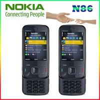 Original Nokia N86 original unlocked GSM 3G WIFI GPS 8MP Mobile phone Black&White russian keyboard support refurbished