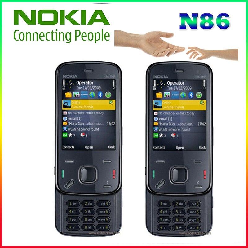 Téléphone portable d'origine Nokia N86 débloqué GSM 3G WIFI GPS 8MP noir et blanc support de clavier russe remis à neuf