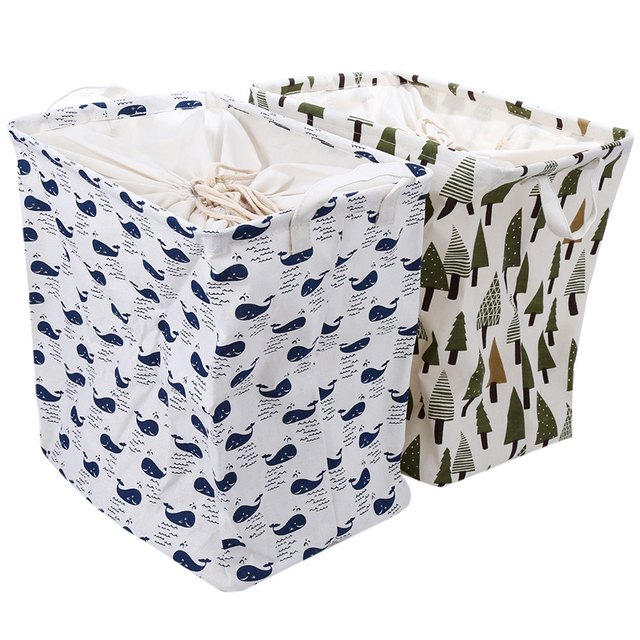 Foldable Storage Baskets Durable Cotton Linen Square Storage Box Organizer  For Toys Clothing Sundries Other Home