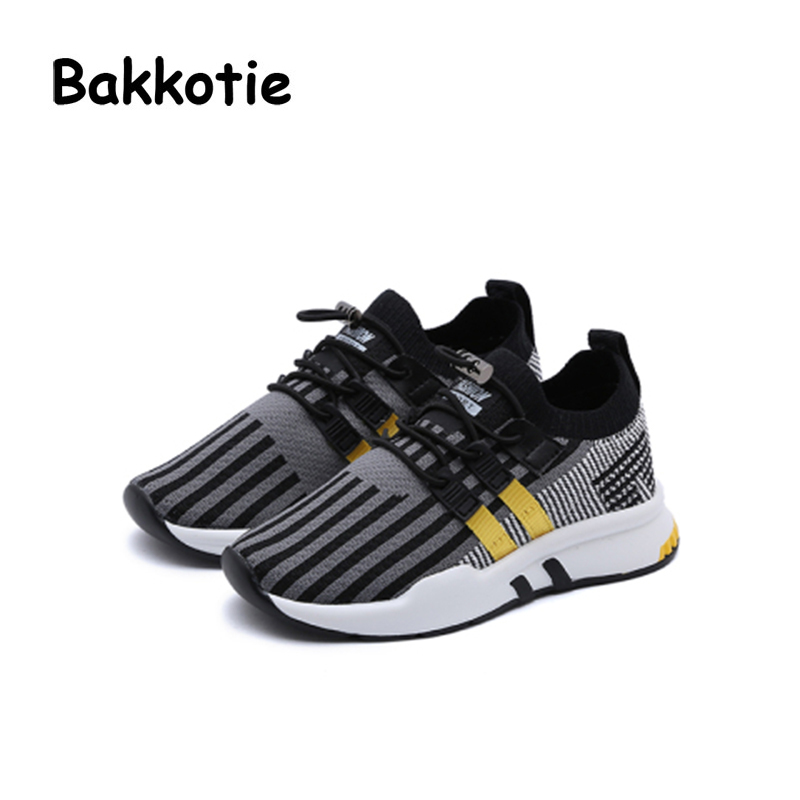 Bakkotie 2018 Spring Boy Breathable Fashion Shoe Children Mesh Causal Trainer Baby Girl Sport Sneaker Black Little Kid