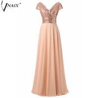 Vnaix P1259 Real Photo V Neck Pleated Sequin Lace Bodice Long Chiffon Skirt Prom Dress Women