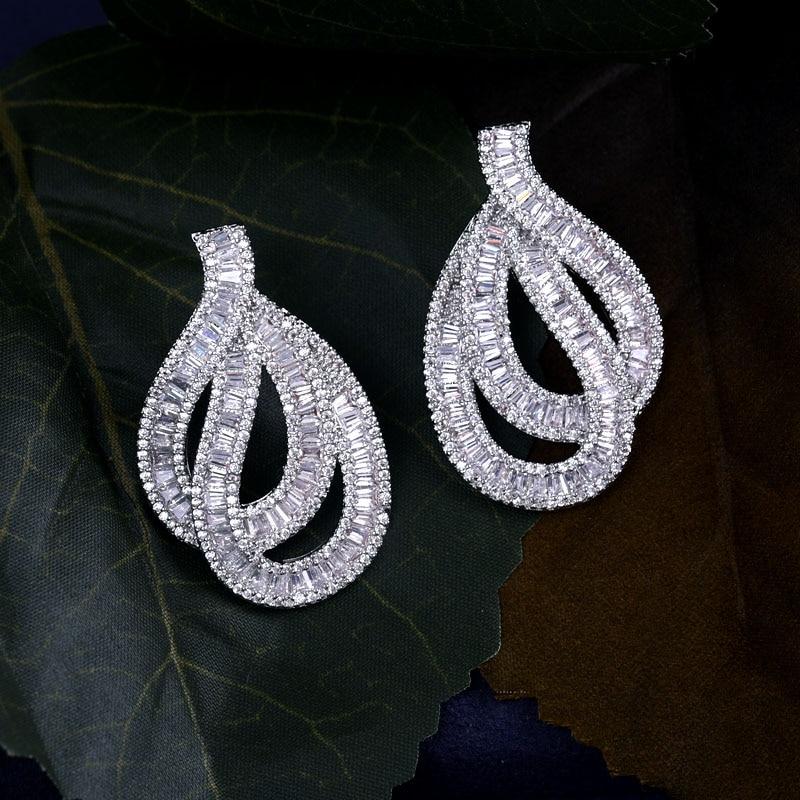 Jankelly New Crystal Clear Cubic Zirconia Hook Stud Earrings For Women Jewelry Wedding Brincos Factory Wholesale faux crystal flower hook earrings