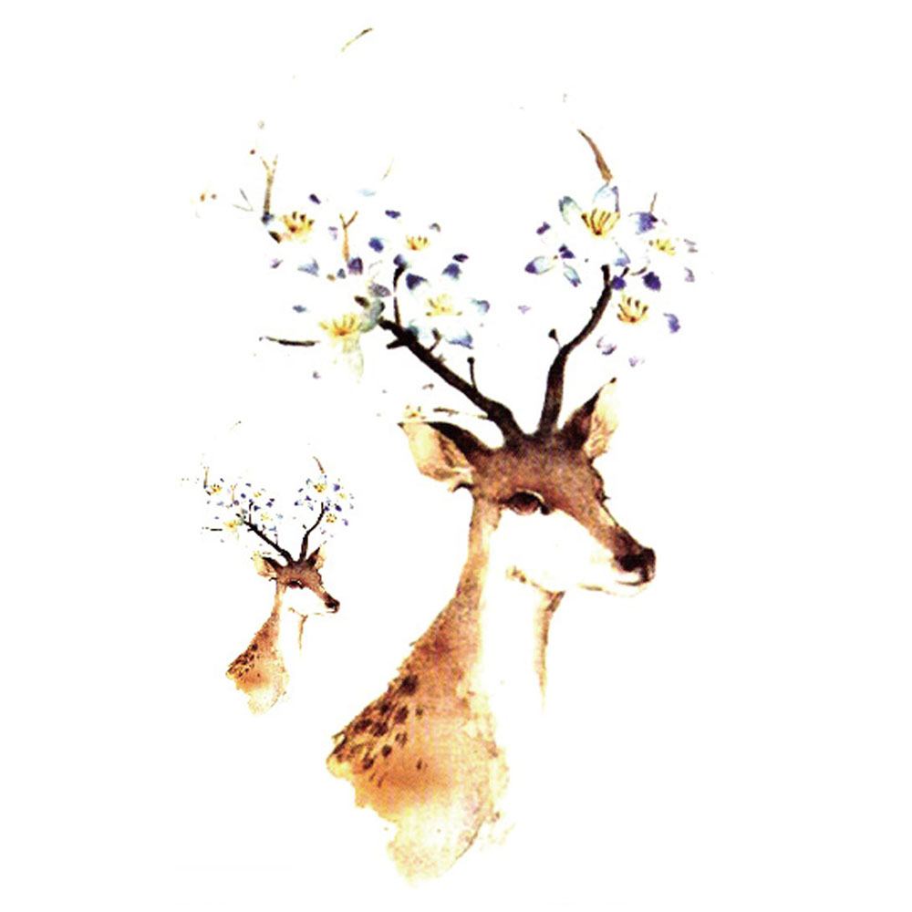 Yeeech Temporary Tattoos Sticker for Women Men Fake Animal Sika Deer Design Large Small Arm Leg Body Art Waterproof Long Lasting