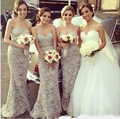 Gray mermaid long bridesmaid dress Sexy sweetheart backless gown high quality custom made elegant mermaid lace bridesmaid dress