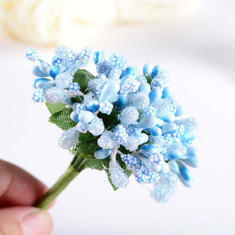 12pcs/lot Mini artificial Stamen Bud Bouquet Beads flower wedding Car corsage Decoration Craft Fake Flower Pearl Simulation 8Z