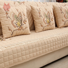 Пастырское бабочка вышитые крышки диван чехлов хлопок канапе квилтинга противоскользящие секционная мебель диване охватывает SP3601