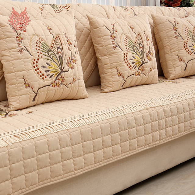sofa covers. Pastoral Butterfly Embroidered Sofa Cover Slipcovers Cotton Canape Quilting Anti-slip Sectional Furniture Couch Covers 6