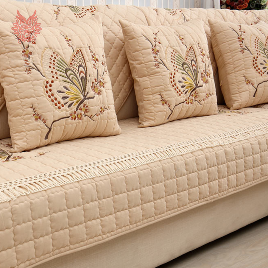 Pastoral style luxury butterfly embroidery 100 cotton for Quilted sectional sofa cover