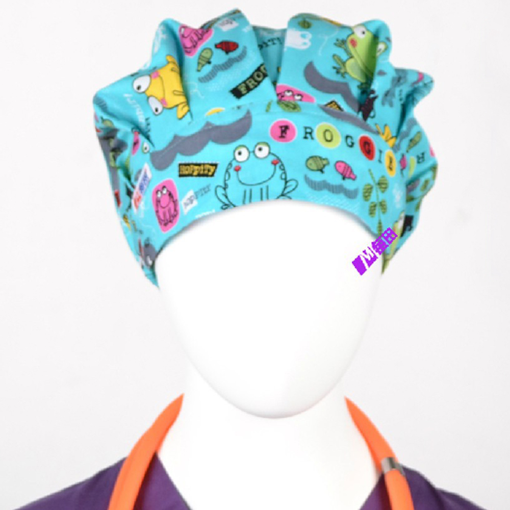 NEW Matin Surgical Caps Doctors And Nurses Cap And Printed Cotton Cap Long Hair Bouffant Hat Free Shipping