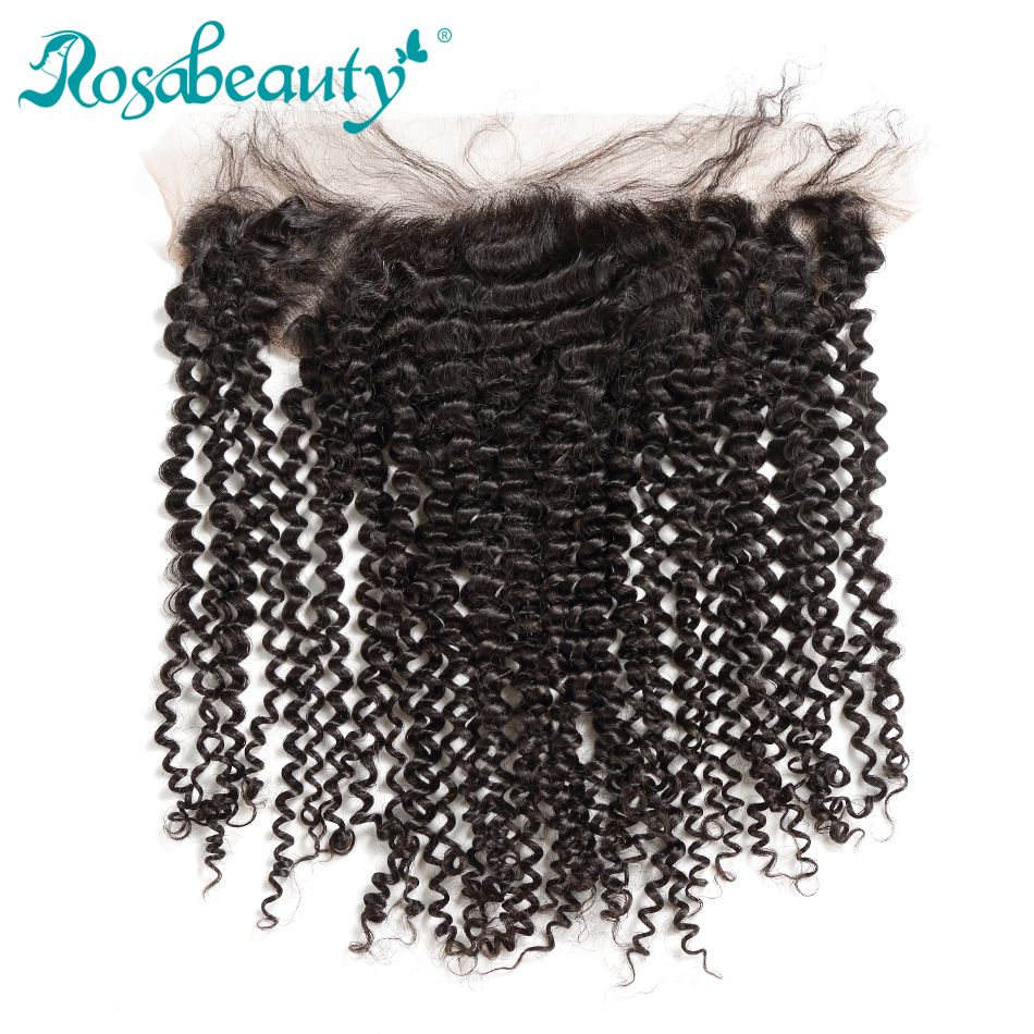 Rosa Beauty Malaysian Kinky Curly Frontal 100 Remy Human Hair Lace Frontal Closure Pre plucked Hairline