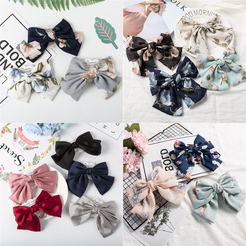 New Arrival Barrette Floral Hairgrips Big Large Bow Hairpin For Women Girls Ladies Chiffon Flower Hair Clip Hair Accessories in Women 39 s Hair Accessories from Apparel Accessories