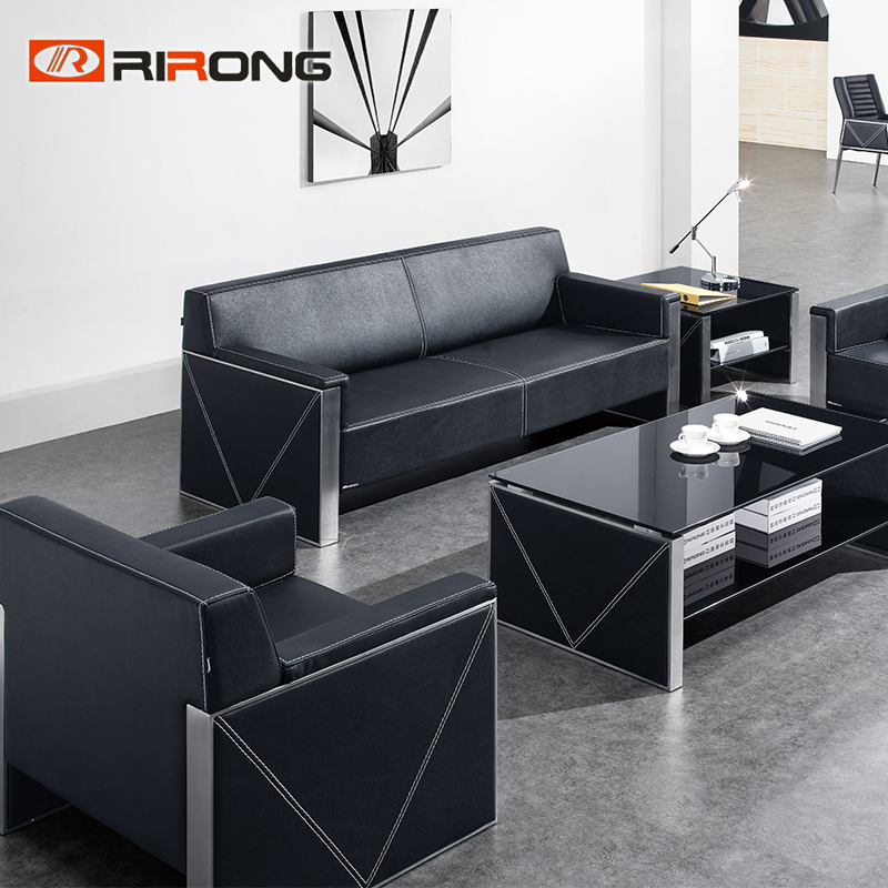 Black Living Room Office Executive Manager Leather Office Sofa Couch Coffee Table Set