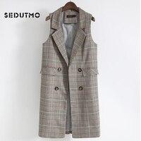 SEDUTMO Long Plaid Vest Women Blazer Streetwear Jacket Autumn Slim Coat Vintage Waistcoat Basic Outerwear ED497