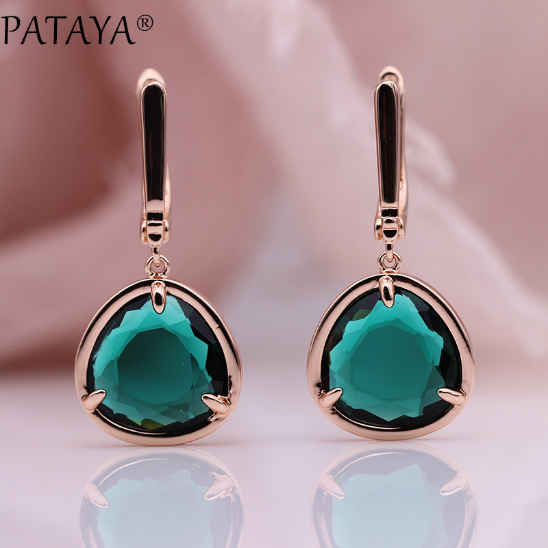 PATAYA New Triangle Long Earrings Women Simple Green Fashion Jewelry 585 Rose Gold Candy Colors Unique Zircon Dangle EarringsPATAYA New Triangle Long Earrings Women Simple Green Fashion Jewelry 585 Rose Gold Candy Colors Unique Zircon Dangle Earrings